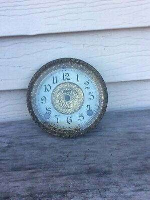 Antique Ingraham Fancy Mantel Clock Dial, with Bezel and Glass.