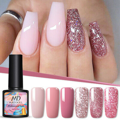 MAD DOLL Soak Off UV Gel Nail Polish Gel Color Top Base Coat Rose Gold Varnish