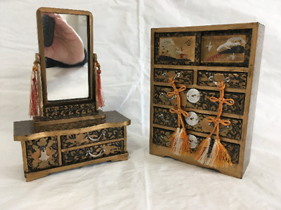 Vintage Japanese Miniatures Hina Lacquered Wood Dresser and Vanity