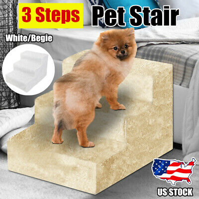 Pet Stairs 3 Step Climb Cat Dog Ladder Ramp Steps Stair White/Beige w/ Cover US