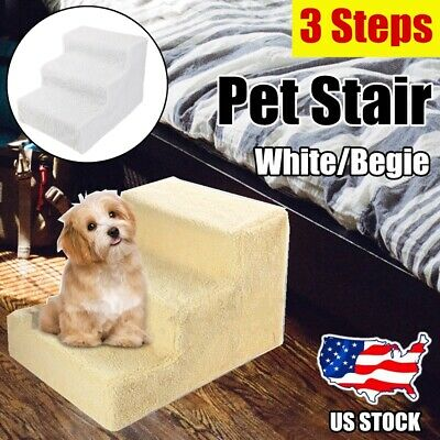 Portable 3 Steps Soft Cat Dog Ladder Small Climb Pet Stair Ramp Beige/White US