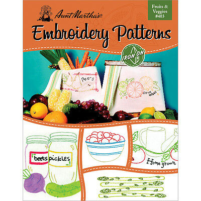Aunt Martha's para Planchar Transfer Book-Fruits & Verduras
