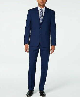 $695 Vince Camuto Men's Slim Fit Stretch High Blue Tonal Grid Wool Suit 36R 29W