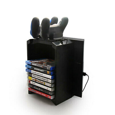 Double Controller Charging Dock Charger Tower with Game DVD Storage Holder