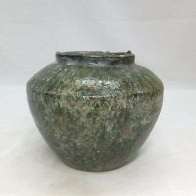 D534: Chinese vase of green glazed pottery of Han dynasty style called RYOKU-YU
