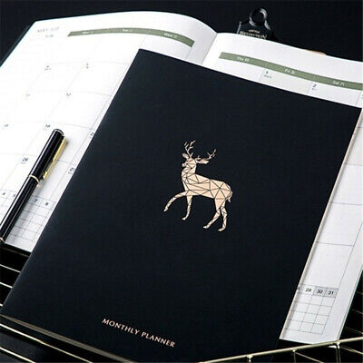 2020 Black Cover Calendar Notebook Journal A4 Weekly Monthly Schedule Planner
