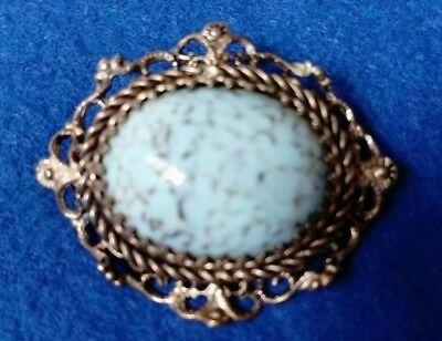 Vintage/Antique, Silver Metal With Duck Egg Blue Polished Semi Precious Stone