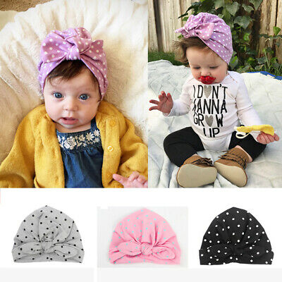 Baby Cotton Pullover Cap Rabbit Ears Knotted Bow Dot Indian Head Cap Turban Hats