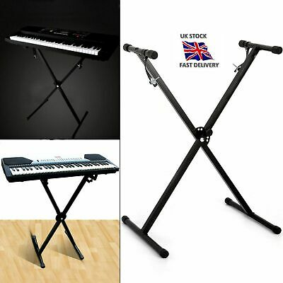 Height Adjustable Double Braced X-Shape Frame Music Piano Keyboard Stand Black