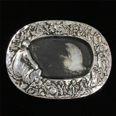 collect China Old Tibet Silver carved 18 arhats Statue desk Ink stone ink slab