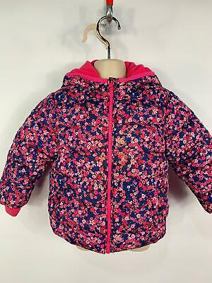 Girls Blue Zoo Flower Zip Up Padded Rain Coat Hooded Jacket Kids Age 18/24 Month