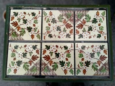 6 Antique Tiles English Art Pottery Aesthetic Movement England Painted Old Set