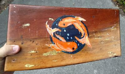 Hand Carved Wood Wooden Hearts Two Goldfish Koi Jewelry Box Painted Trinket