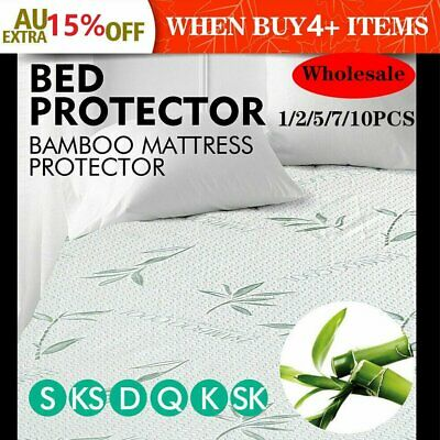 LOT! 1/2/5/7/10PCS Bamboo Waterproof Mattress Protector Bed Cover S/D/Q/K Size