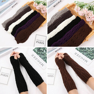 Thick Warm Fingerless  Mittens Candy Color Long Knitted Gloves Arm Warmers