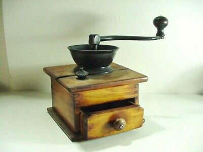 ANTIQUE WOOD AND CAST IRON COFFEE GRINDER MILL HAND CRANK w/ DRAWER DOVETAILED