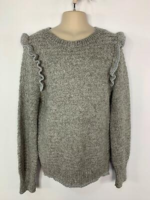 Girls Nine Grey Sparkle Casual Frill Jumper Sweater Pullover Kids Age 12 Years