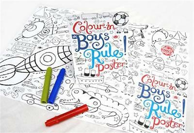 Eggnogg Colour-In Boys Rule Poster, Kids Colouring Activity Stocking Filler