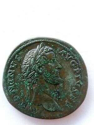 023.Ancient Roman Bronze Sestertius,Antoninus Pius,22,8gr-3,5cm,Authentic