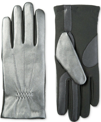 ISOTONER GLOVES SILVER Women's Leather Insulated Touchscreen Gloves NWT S/M