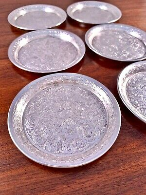 (6) Ornate Concord Silversmiths Sterling Silver Butter Pats / Coasters 299G