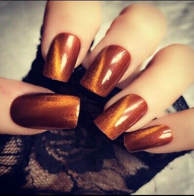 Hand Painted False Nails Copper Gold Autumn 🍂 Short Square Press On Nails