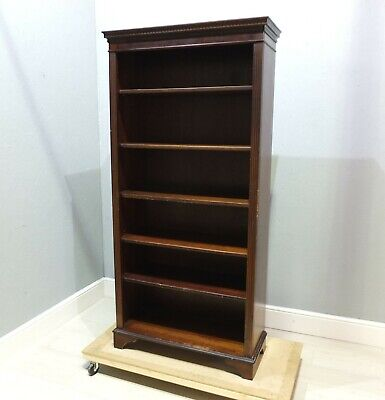Georgian Antique Style Dark Oak Bookcase With Fluted Column Feet (94)