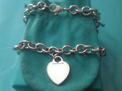 "Women's Tiffany & Co Plain Heart Tag 16"" Necklace Sterling Silver Genuine"