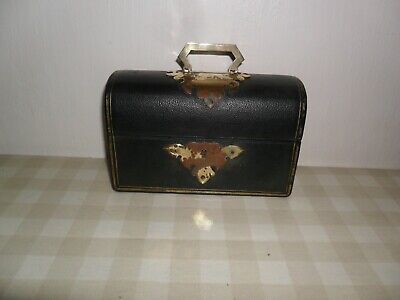 Antique Black Leather Covered Perfume Box / Casket With 1 Bottle