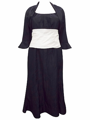 2 Piece Suit Black & White Contrast Dress & Shrug Jacket Mother Of The Bride BNW