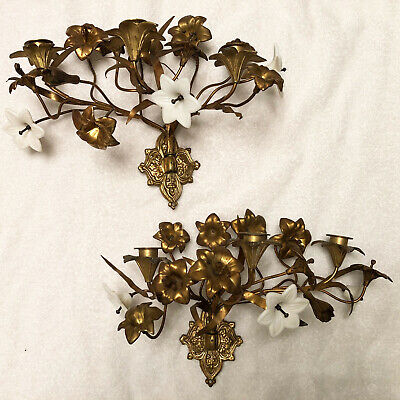 Beautiful Antique Brass Bronze D'Or Milk Glass Lily Flower Candle Sconces