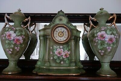 Stunning set of Antique Porcelain Floral Mantel Clock & Vases.COLLECTION B772AE