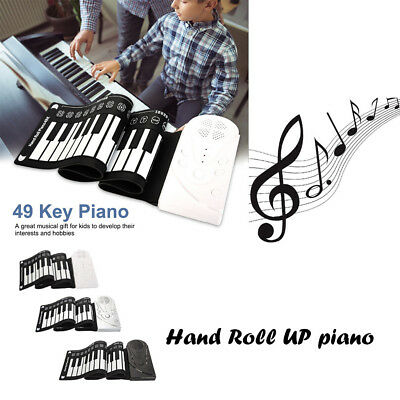 Flexible Roll Up Electronic Soft Keyboard Piano Portable 49 Keys Gifts For Kids