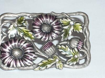 Antique Style Scottish Thistle Enamel Ladies Pin Brooch Jewellery Silver Tone