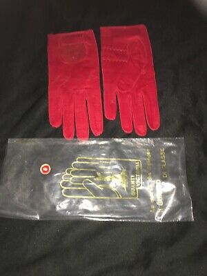 Vintage Ladies Guanti Victoria Leather Gloves Red Size 8