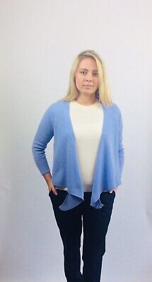 VAST LAND 100% Cashmere Tie Cardigan Soft Lightweight  Lovely BNWT Arctic Blue L