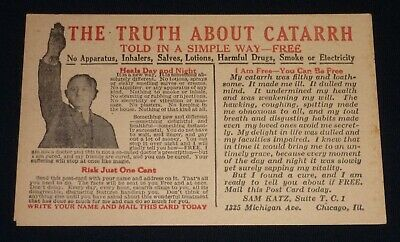 Early 1900's Advertising Postcard - Catarrh Cure - Chicago - Quack Medicine