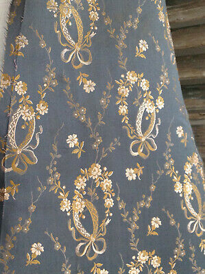 ExquisiteAntique Navey Silk Victorian Edwardian  Dress Large Fragment Bows Rose