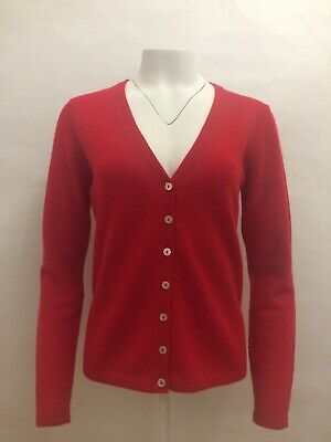VAST LAND 100% Cashmere V Neck  cardigan Soft Lightweight  Lovely BNWT Red 16