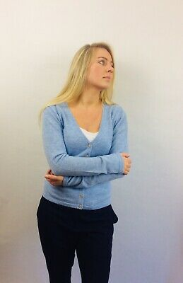 VAST LAND 100% Cashmere V Neck  cardigan  Lightweight  Lovely BNWT Blue Mist 12