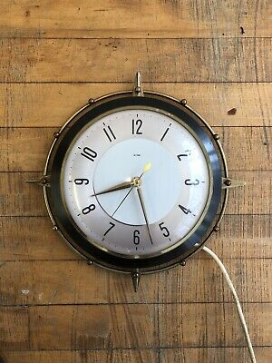 VINTAGE Mid Century METAMEC SUNBURST Two Tone STARBURST Electric WALL CLOCK