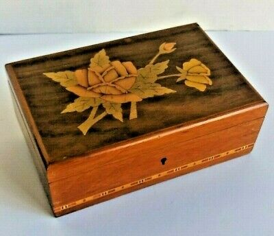 Rose Floral Design Marquetry Wood Lock Box. Inlaid Multi Colored Wood Box