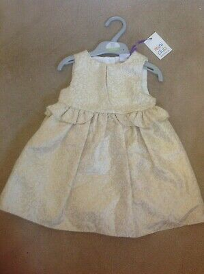 Bnwt Lovely Baby Girls Mini Club Ivory & Gold Special Occasion Dress 12-18 Mths