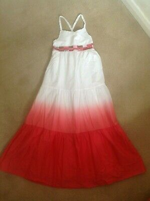 Fab Girls Marks & Spencers M&S Ltd Collection Red Pink & White Long Dress Age 6