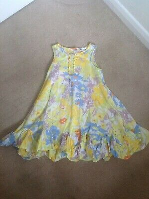 Lovely Girls Marks & Spencers M&S Autograph Yellow Floral Summer Dress Age 3-4