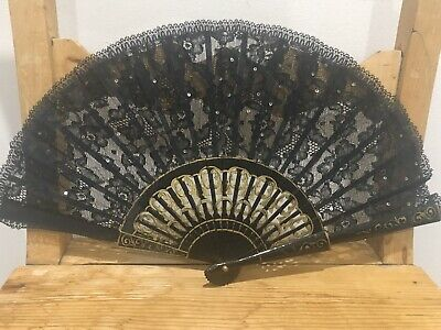 Antique Black Lace Spanish Hand Fan - VGC!