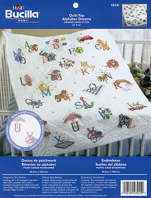 "Bucilla Stamped Cross Stitch Baby Quilt Top 34""X43""-Alphabet Dreams"