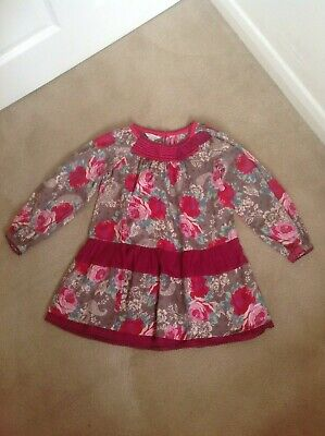 Gorgeous Girls Monsoon Pink Red & Grey Floral Sequin 100% Cotton Dress - Age 7-8