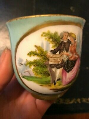 19th Century Meissen porcelain cup lovers pattern with light blue ground