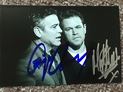 George Clooney & Matt Damon Hand Signed Autograph Photo *OFFERS WELCOME*